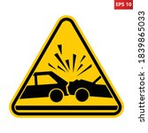 caution car accident sign. risk ...   Shutterstock .eps vector #1839865033