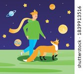 little prince with a fox. flat...   Shutterstock .eps vector #1839913516