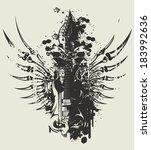 winged guitar | Shutterstock .eps vector #183992636