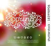 spring lettering on blurred... | Shutterstock .eps vector #183998906