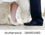 wedding shoes of bride and... | Shutterstock . vector #184001483