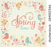 beautiful spring time concept... | Shutterstock .eps vector #184002566
