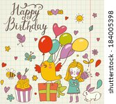 happy birthday concept card.... | Shutterstock .eps vector #184005398