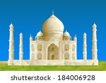 Taj Mahal illustration in triangular pattern style - stock vector