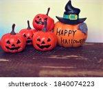 happy halloween orange pumpkin... | Shutterstock . vector #1840074223