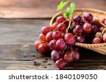 Fresh Red Grapes Fruit In A...