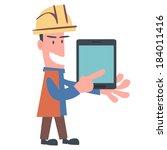 happy engineer using tablet   Shutterstock .eps vector #184011416