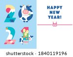 2021 new year's card design. it ... | Shutterstock .eps vector #1840119196