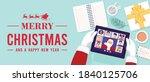 top view of santa claus having... | Shutterstock .eps vector #1840125706