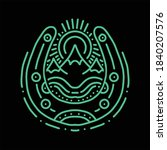 horseshoe and mountain line art ...   Shutterstock .eps vector #1840207576