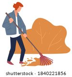 woman cleaning yard in autumn ... | Shutterstock .eps vector #1840221856