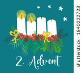 advent wreath illustration.... | Shutterstock . vector #1840222723