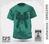 graphic t shirt design  tribal... | Shutterstock .eps vector #184023590