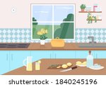 kitchen counter flat color...   Shutterstock .eps vector #1840245196