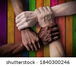 Small photo of Union Teamwork. Team Inclusiveness. Inclusive Company - Inclusive Society