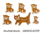 Set Of Cute Baked Cats Of...