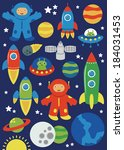 cute space objects set. vector... | Shutterstock .eps vector #184031453