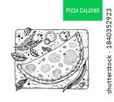 italian pizza calzone hand... | Shutterstock .eps vector #1840352923