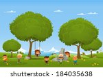 cheerful children play outdoors.... | Shutterstock .eps vector #184035638