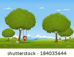 cheerful children play outdoors.... | Shutterstock .eps vector #184035644