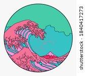 great wave in vaporwave pop art ... | Shutterstock .eps vector #1840417273
