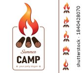 summer camp template wiht fire... | Shutterstock .eps vector #1840428070
