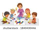 children playing with a teacher ... | Shutterstock .eps vector #1840430446