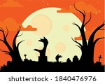 happy halloween poster vector... | Shutterstock .eps vector #1840476976