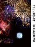 Fireworks And Full Moon
