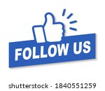 Follow Us Icon With Hand  ...
