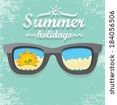 summer paradise beach... | Shutterstock .eps vector #184056506