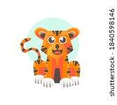 cute flat tiger illustration... | Shutterstock .eps vector #1840598146