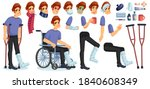 young sick  disabled or injured ...   Shutterstock .eps vector #1840608349