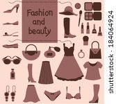 fashion flat icons | Shutterstock .eps vector #184064924