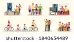 set of happy family people...   Shutterstock .eps vector #1840654489