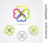 clover leaf eco vector icon set | Shutterstock .eps vector #184066244