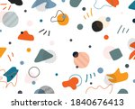Abstract doodle memphis design of free shapes elements decorative artwork background. Use for ad, poster, artwork, template design, print. illustration vector eps10