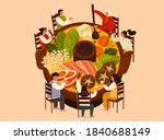 top view of asian family... | Shutterstock .eps vector #1840688149