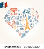 paris symbols in heart shape