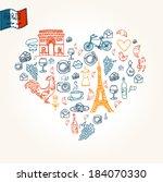paris symbols in heart shape