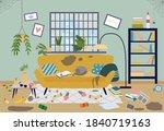 dirty living room in house....   Shutterstock .eps vector #1840719163