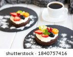 chocolate cupcakes with cream...   Shutterstock . vector #1840757416
