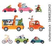 animal transport. fun cartoon... | Shutterstock .eps vector #1840812043