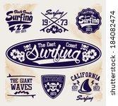surfer vector set   vector... | Shutterstock .eps vector #184082474