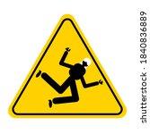 wet floor sign  yellow triangle ... | Shutterstock .eps vector #1840836889