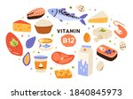 collection of vitamin b12 food. ... | Shutterstock .eps vector #1840845973