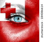 woman face painted with flag of ... | Shutterstock . vector #184086614
