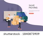save moving house. mens with... | Shutterstock .eps vector #1840873909