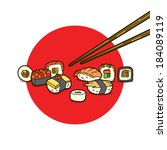 sushi collection and red circle   Shutterstock .eps vector #184089119