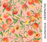 peach pattern with tropic... | Shutterstock .eps vector #1840896760